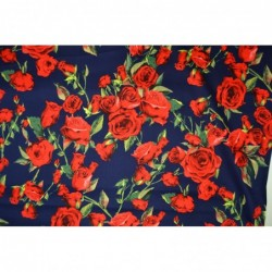 Röda rosor på blått