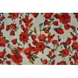Röda rosor på vitt