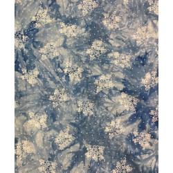 Batik med blom LJUS BLÅ