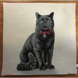 Sittande svart katt SVART